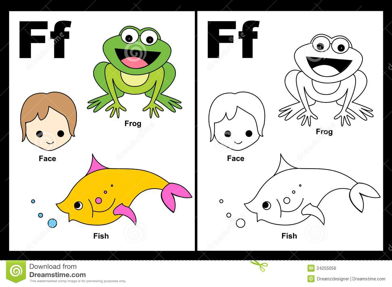 Letter F Worksheet Stock Vector Illustration Of Cute