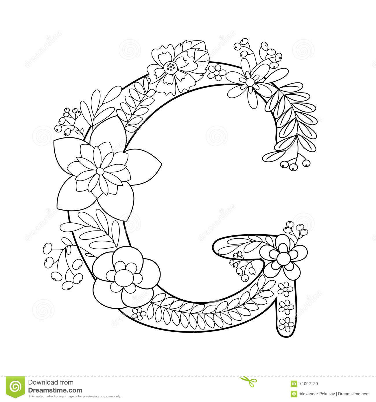 Letter G Coloring Book For Adults Vector Stock Vector