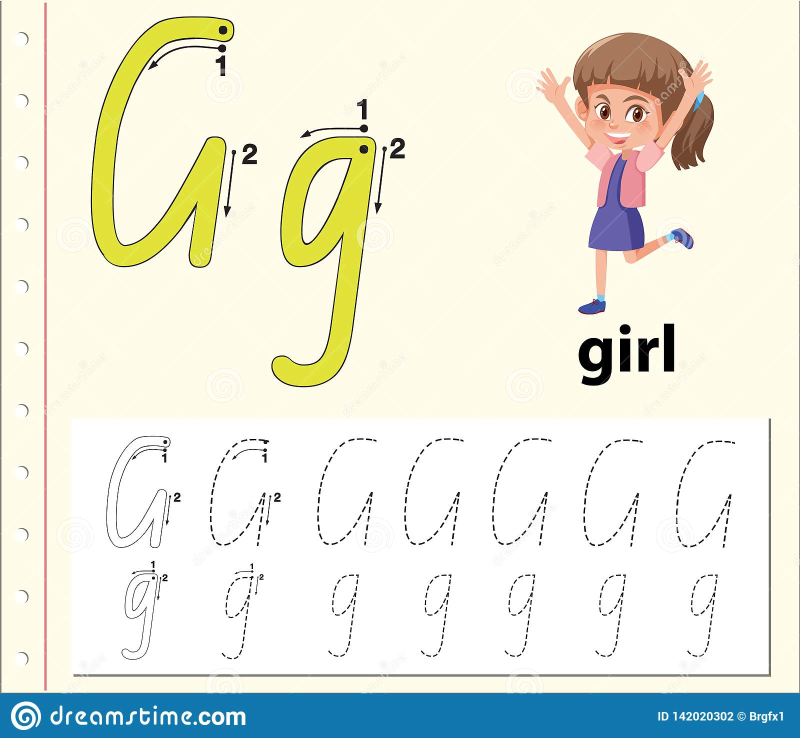 Letter G Tracing Alphabet Worksheets Stock Vector