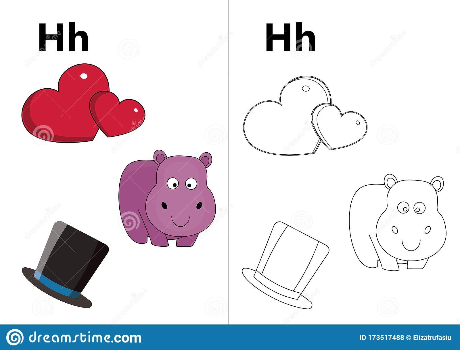 Letter H H Worksheet Stock Vector Illustration Of