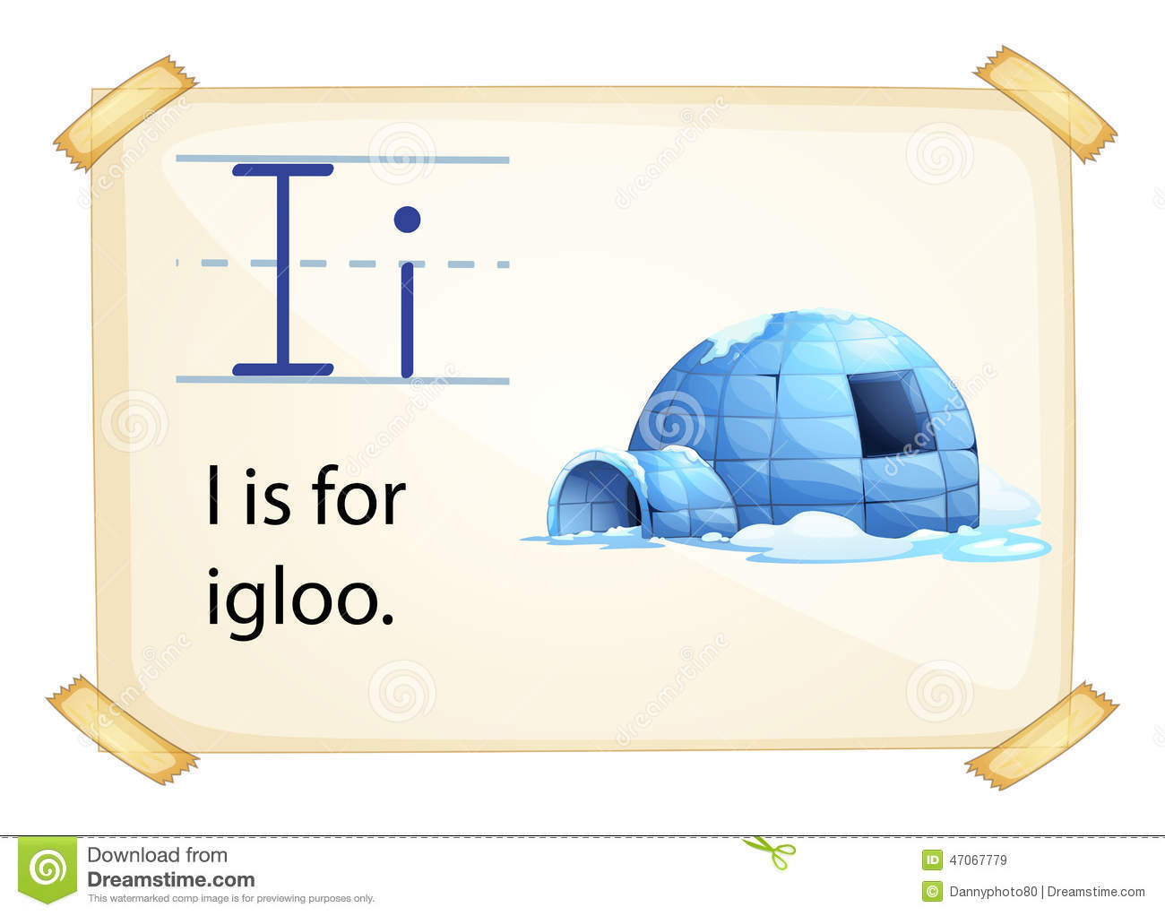 A Letter I For Igloo Stock Vector