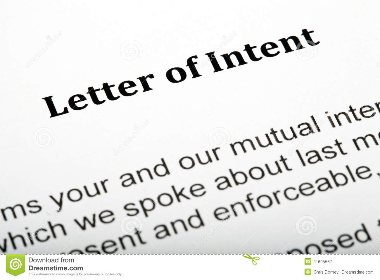 Letter Of Intent Stock Image Image Of Document Risk