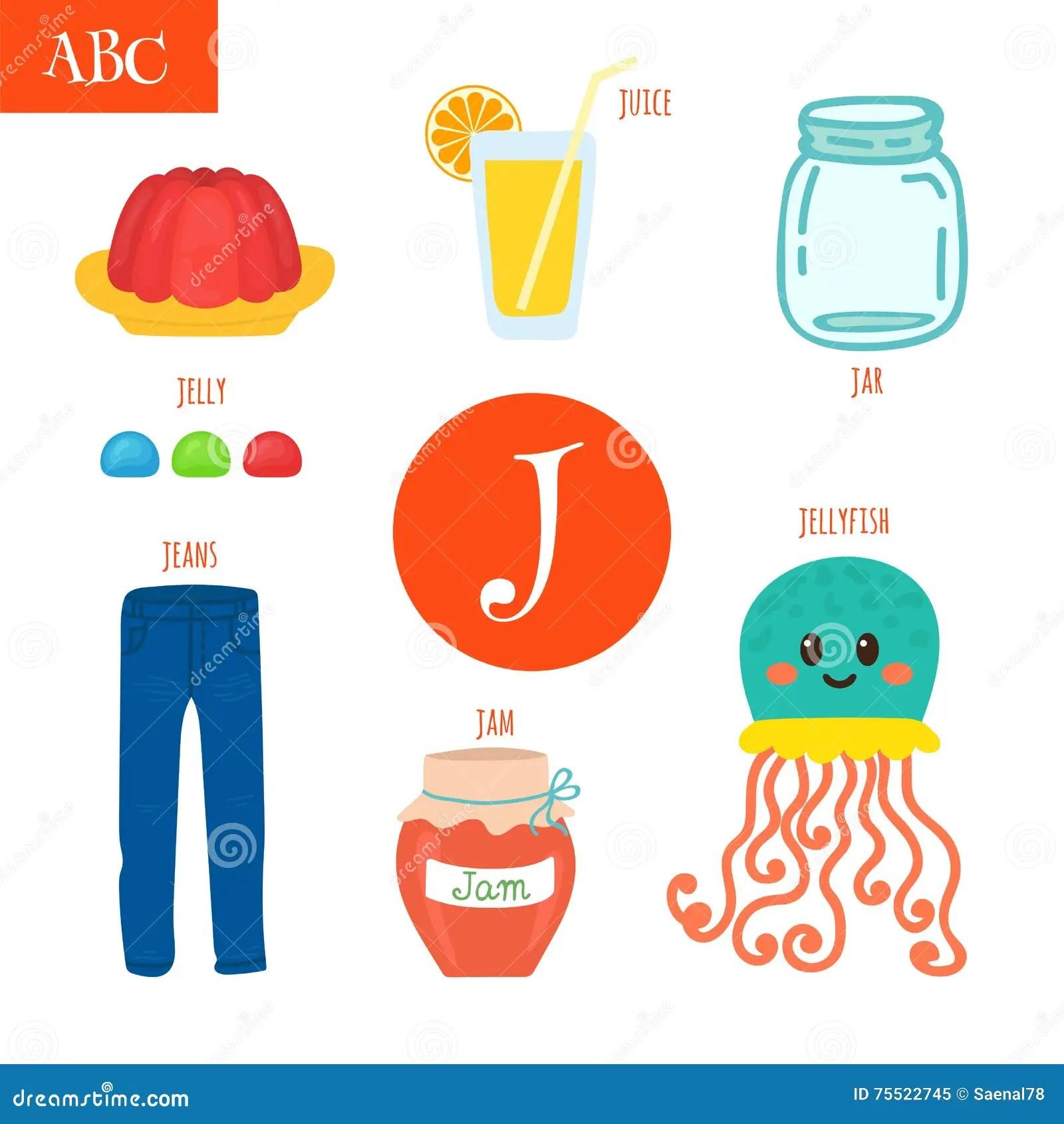 Letter J Cartoon Alphabet For Children Jellyfish Jelly