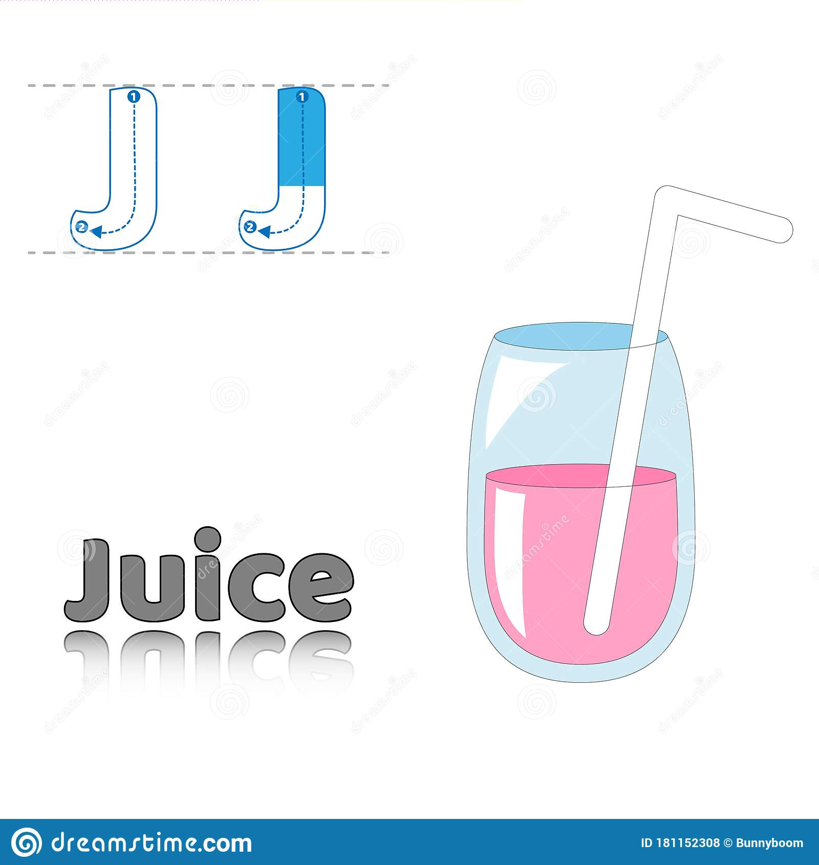 Letter J Juice English Alphabet Tracing Coloring Book Page