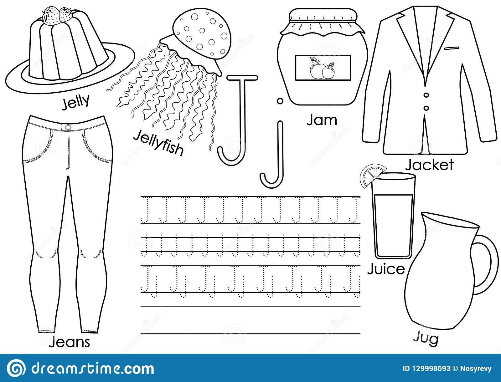 Alphabet J With Jug Vector Illustration