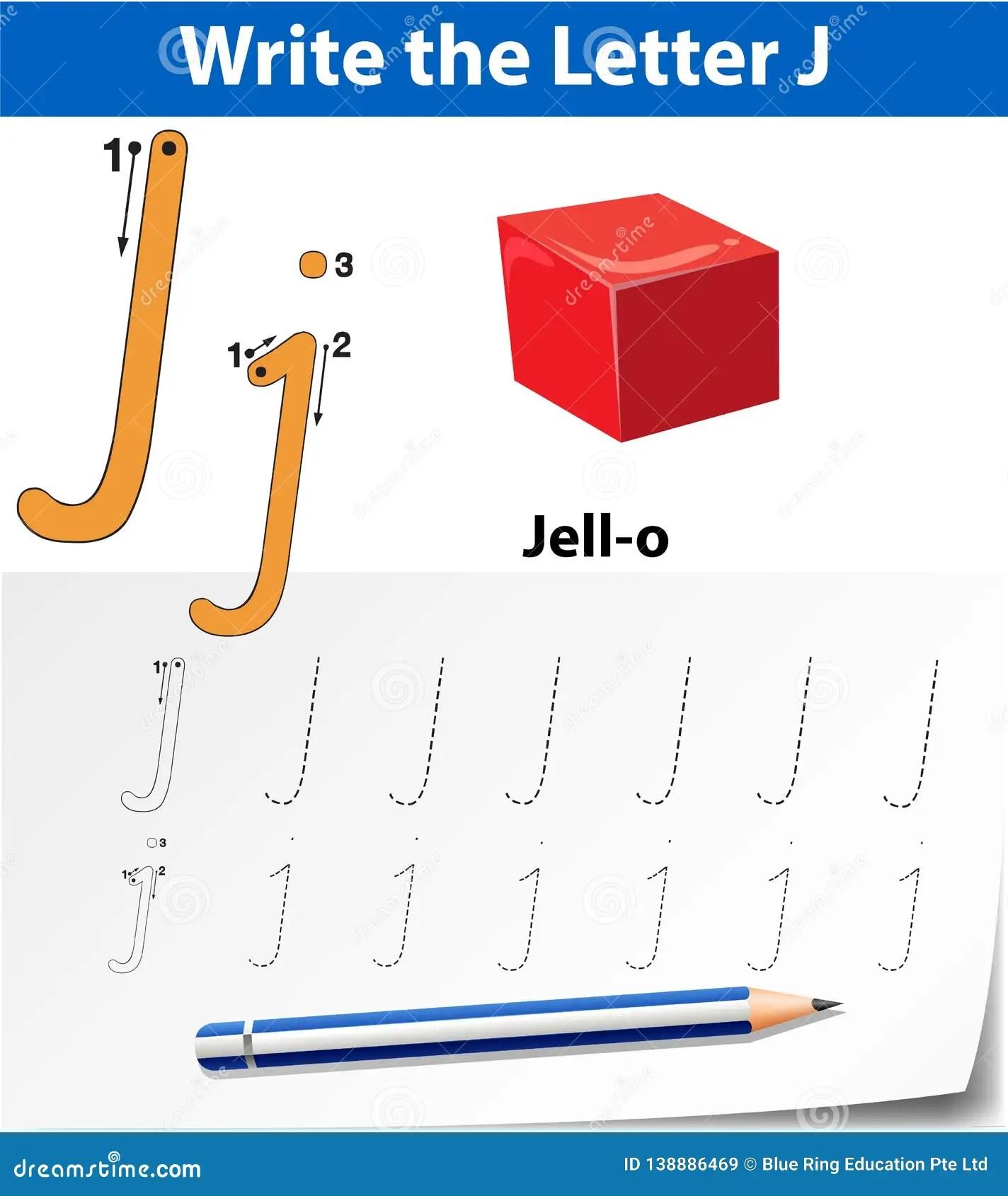 Letter J Tracing Alphabet Worksheets Stock Vector