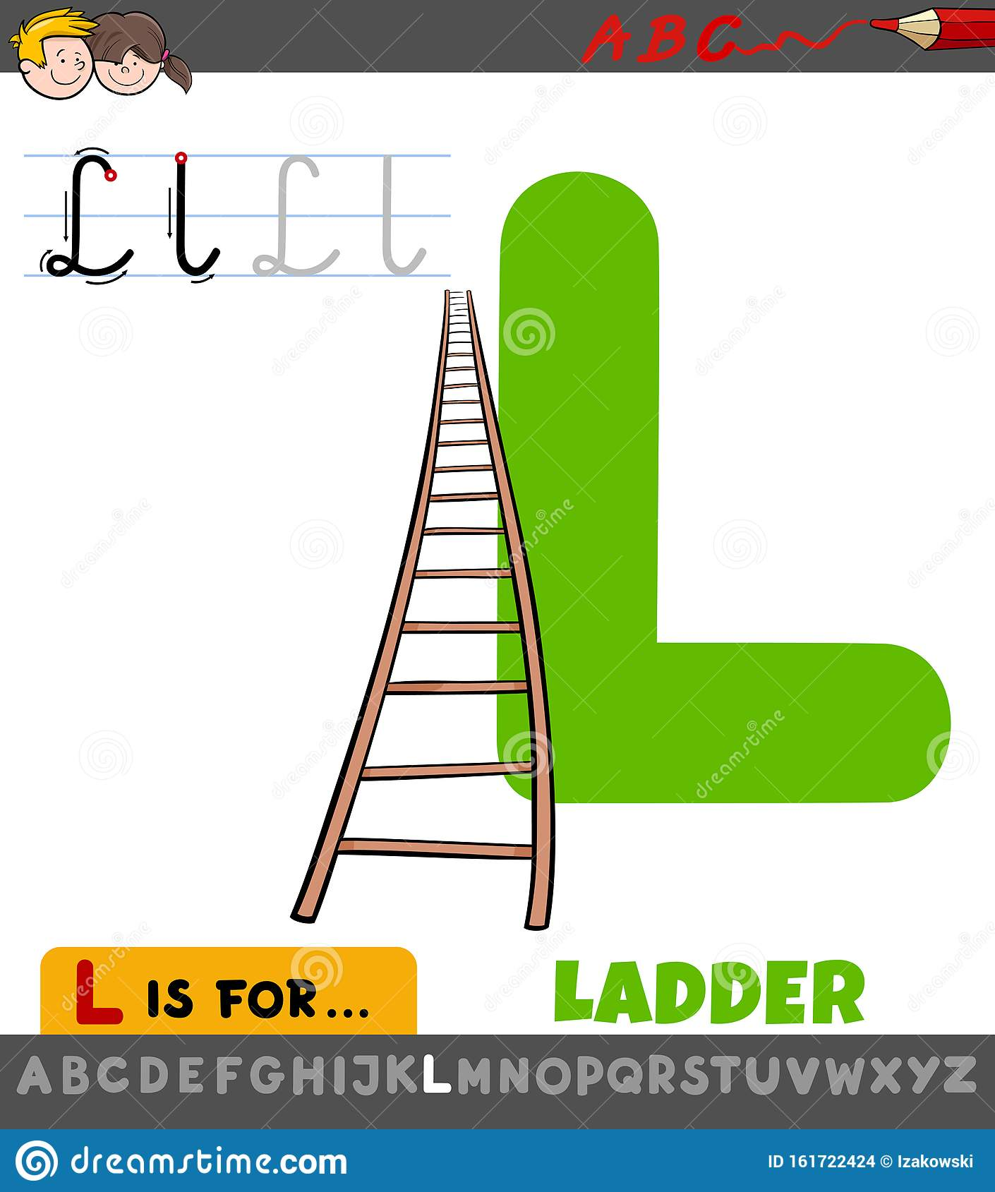 Letter L Worksheet With Cartoon Ladder Stock Vector