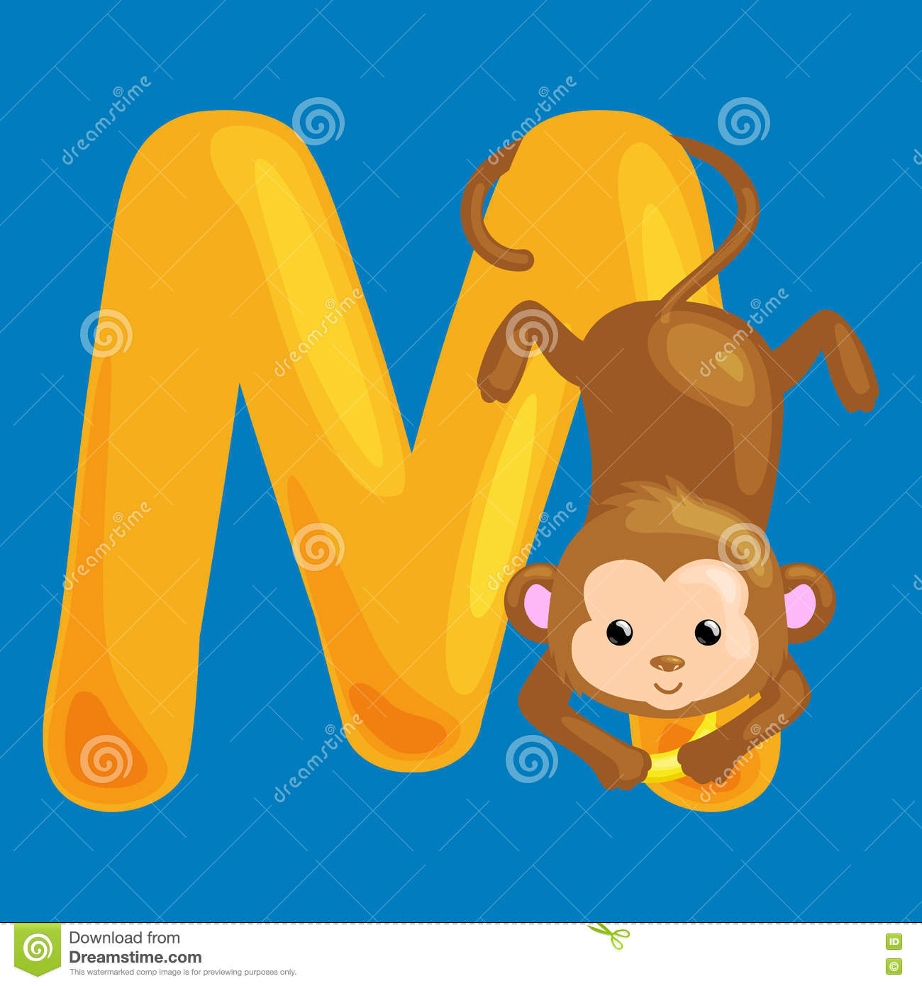 Letter M With Animal Monkey For Kids Abc Education In Preschool Stock Vector