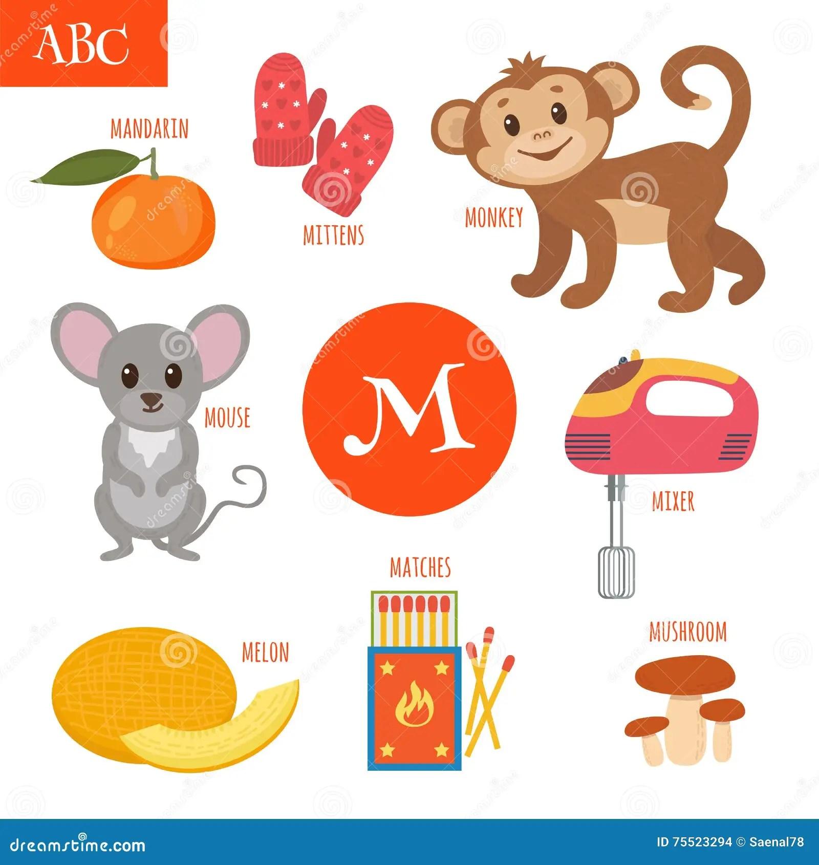Letter M Cartoon Alphabet For Children Monkey Mouse