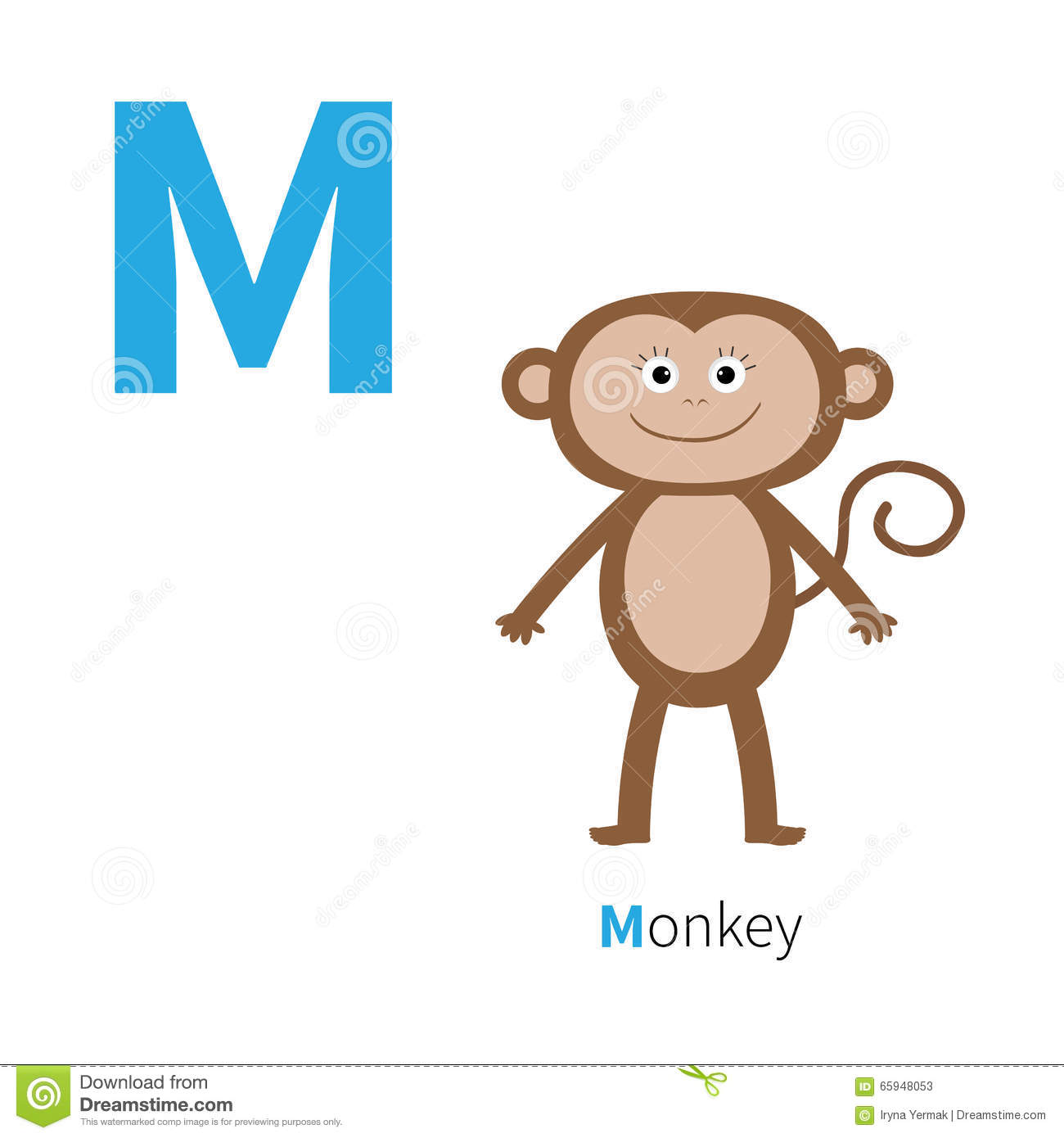 Letter M Monkey Zoo Alphabet English Abc With Animals Education Cards For Kids White Background