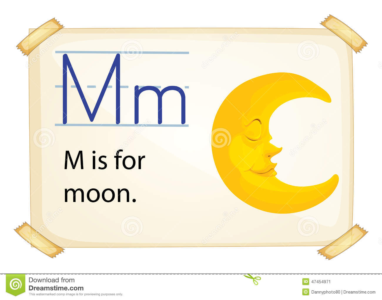 A Letter M For Moon Stock Vector Illustration Of Isolated