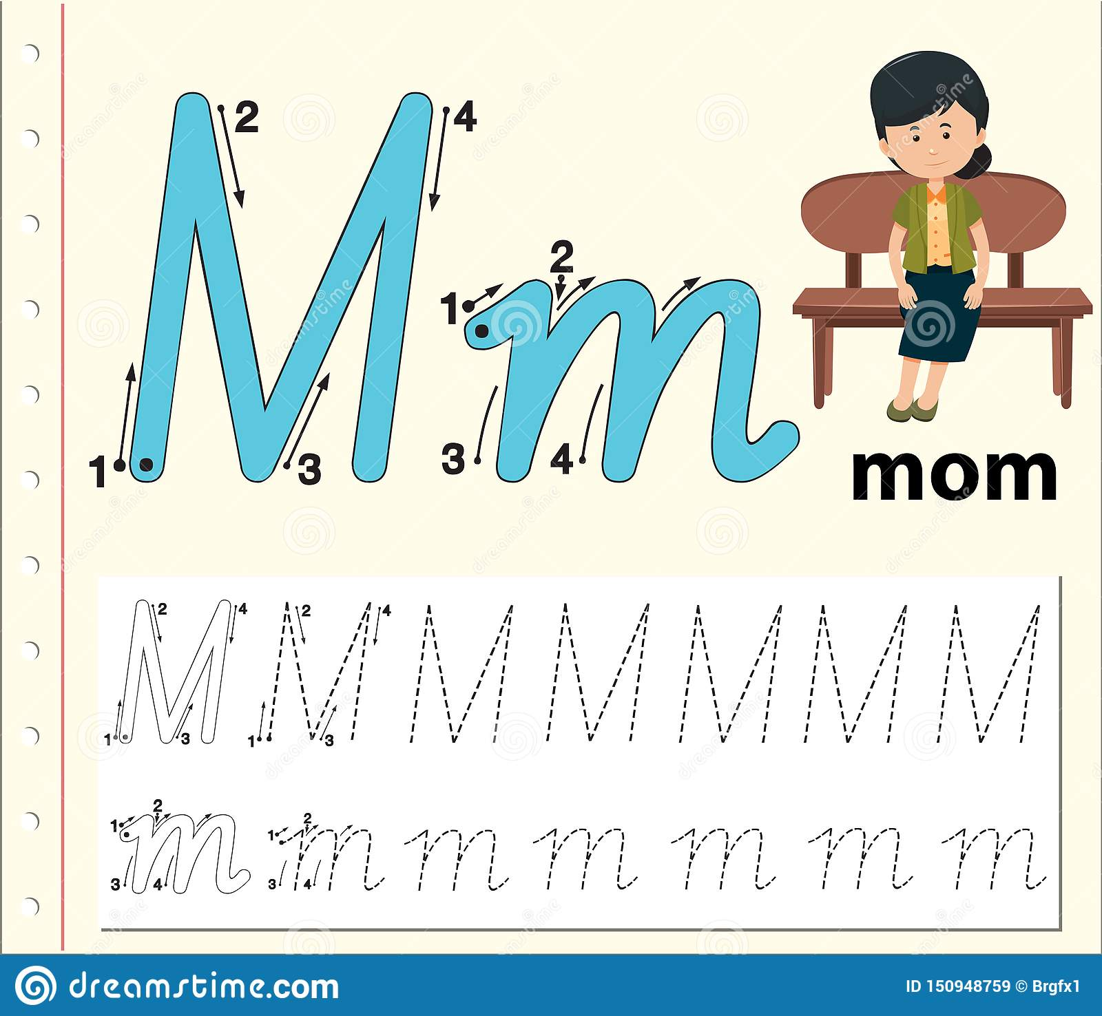Letter M Tracing Alphabet Worksheets Stock Vector