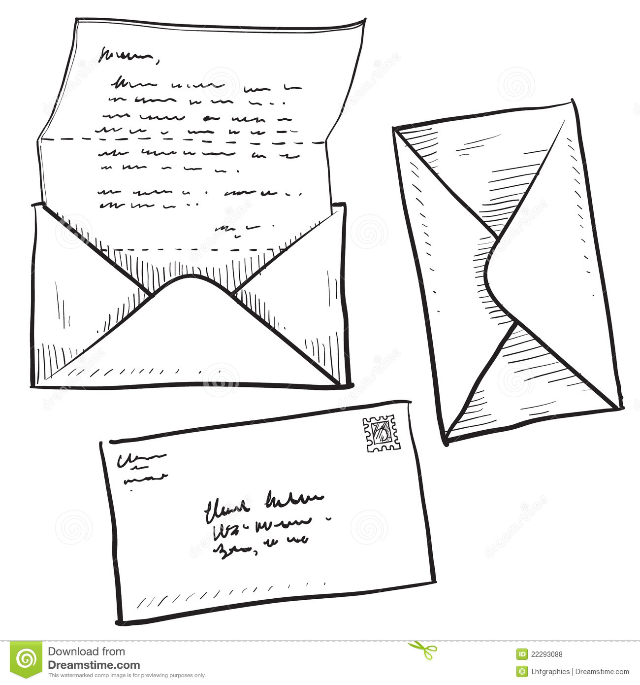 Letter, Mail, Or Contact Illustration Stock Vector