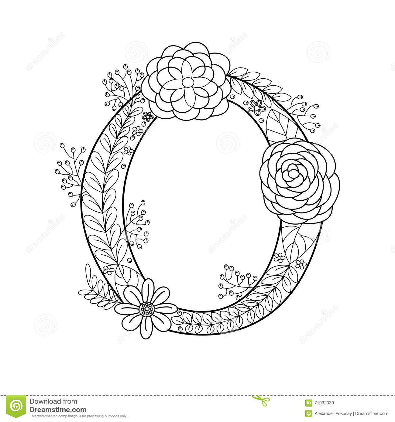 Letter O Coloring Book For Adults Vector Stock Vector