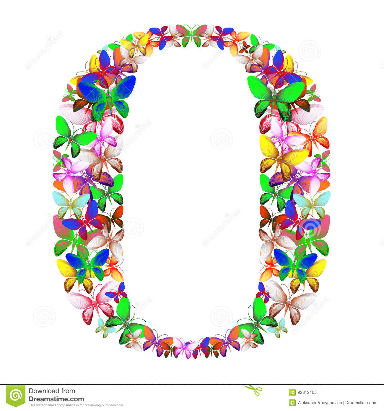 The Letter O Made Up Of Lots Of Butterflies Of Different