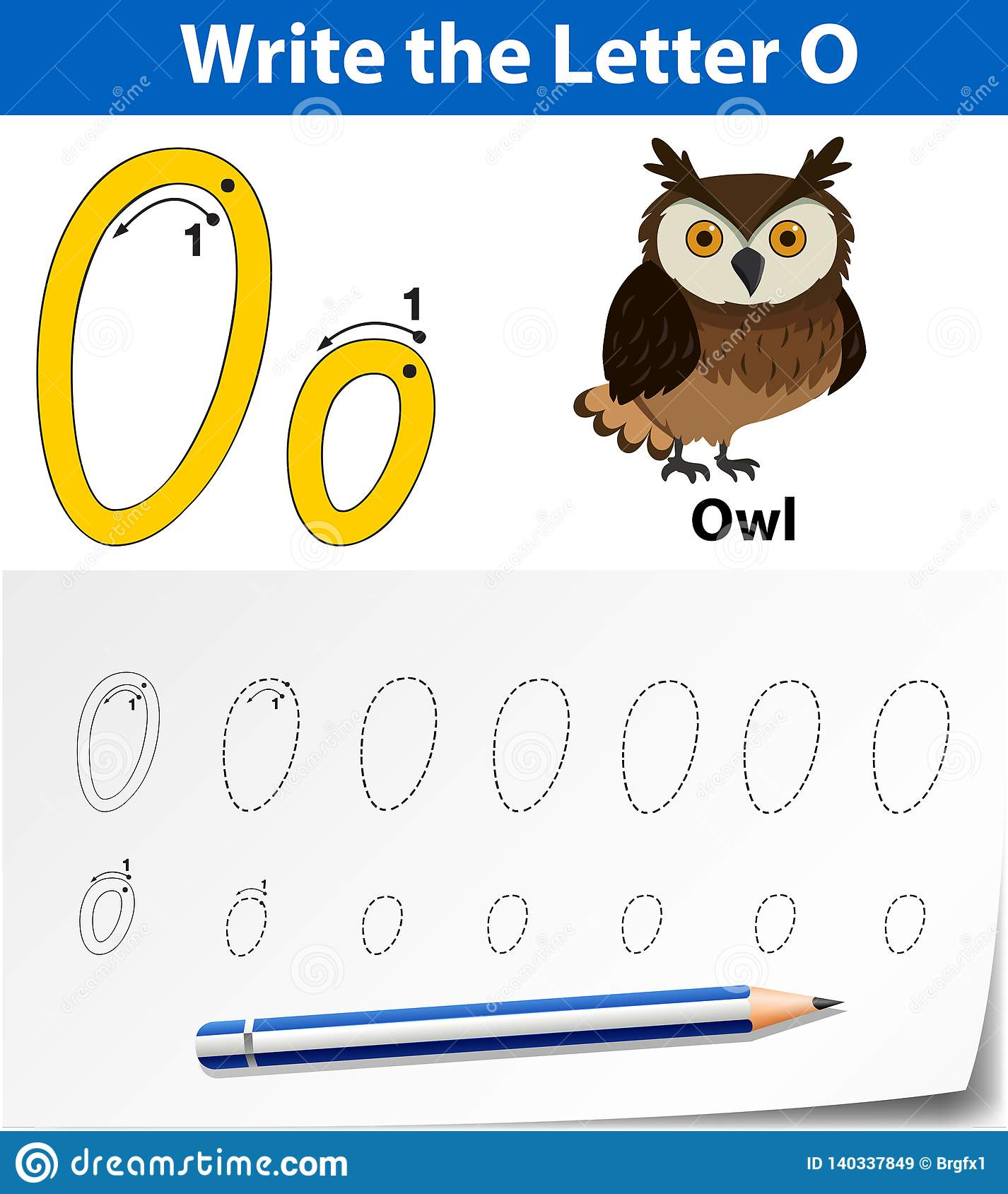 Letter O Tracing Alphabet Worksheets Stock Vector