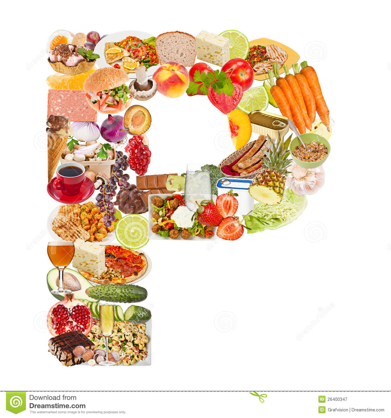 Letter P Made Of Food Stock Image Image Of Alphabet