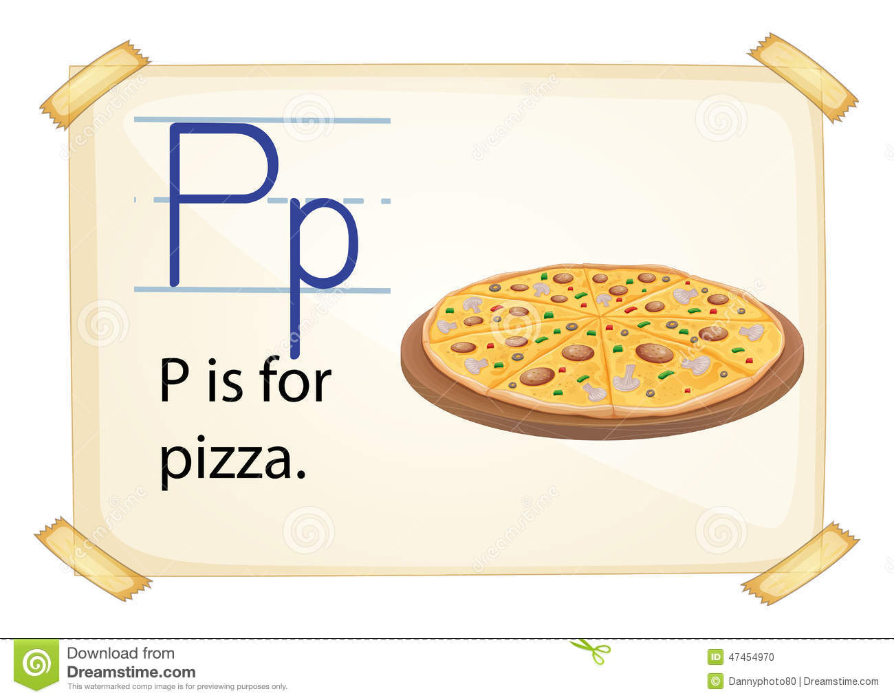 A Letter P For Pizza Stock Vector Illustration Of Read