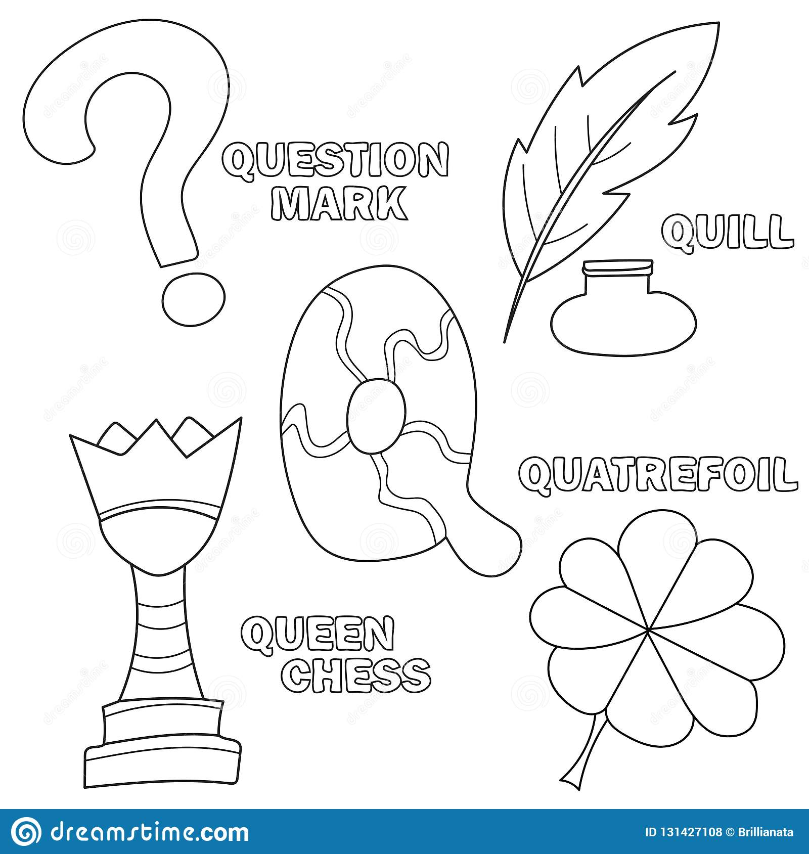Letter Q Learning English Alphabet Coloring Book Vector