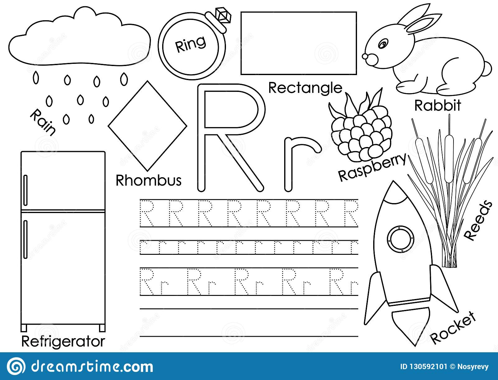Letter R Card With Pictures And Writing Practice For