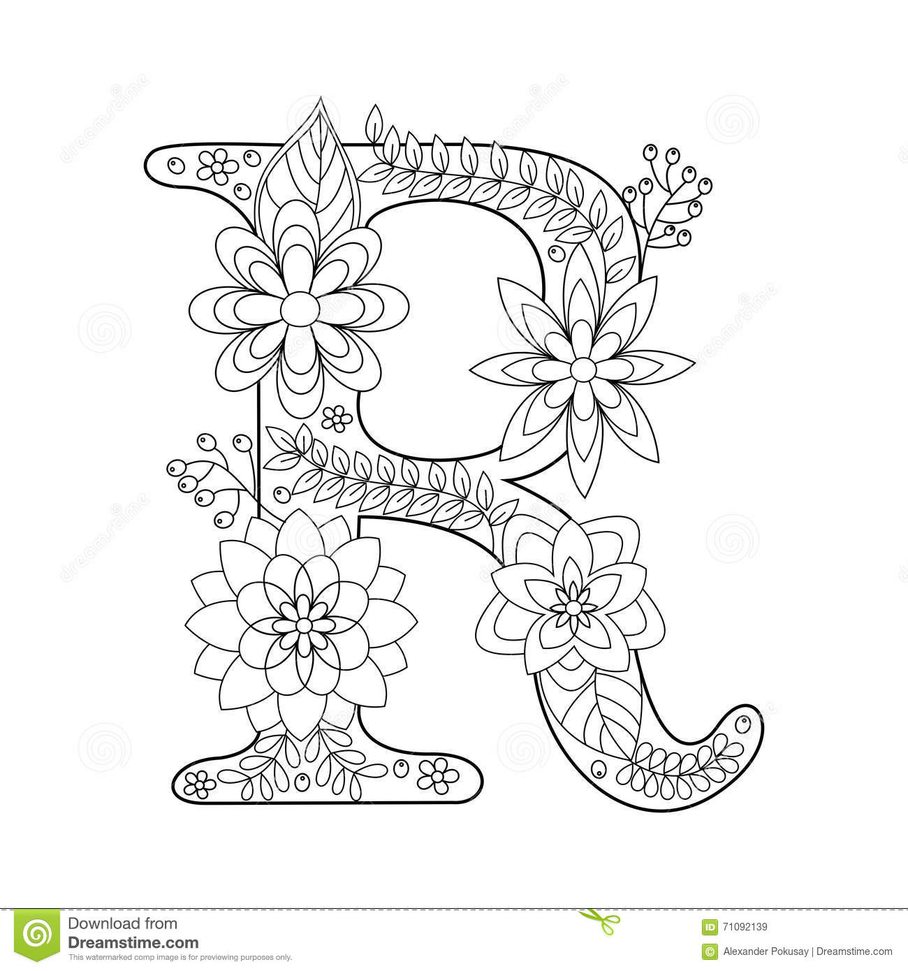 Letter R Coloring Book For Adults Vector Stock Vector