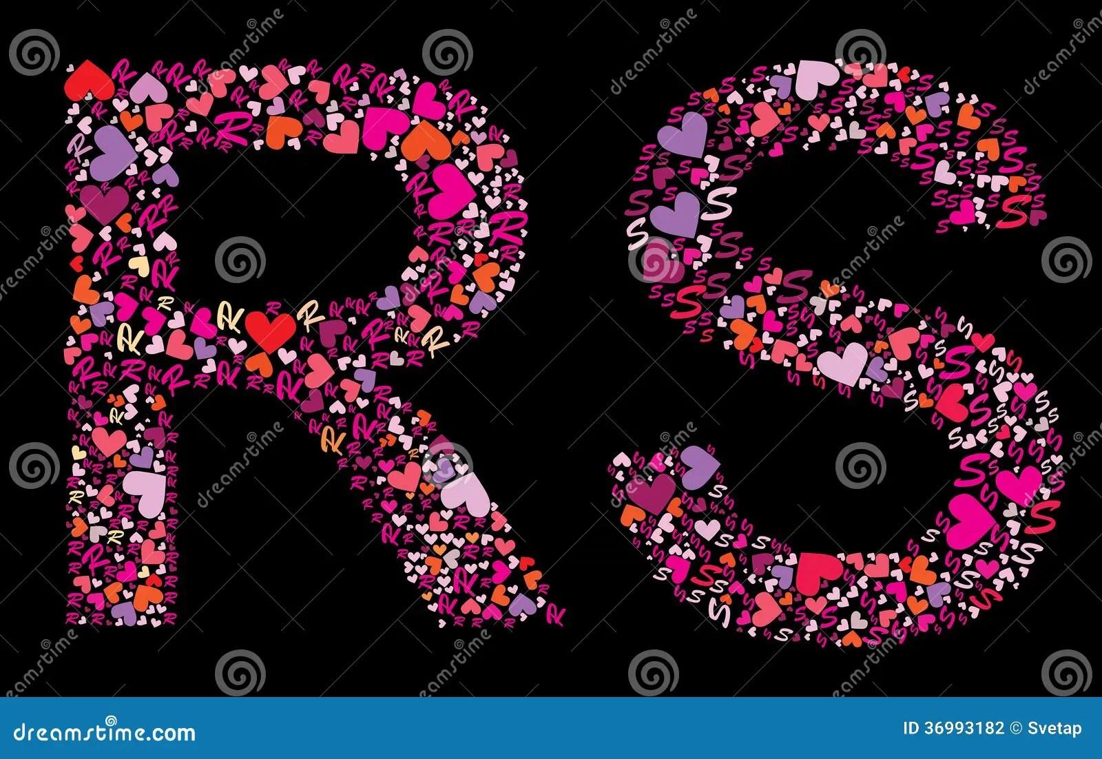 Letter R S Valentine Alphabet Stock Vector Illustration