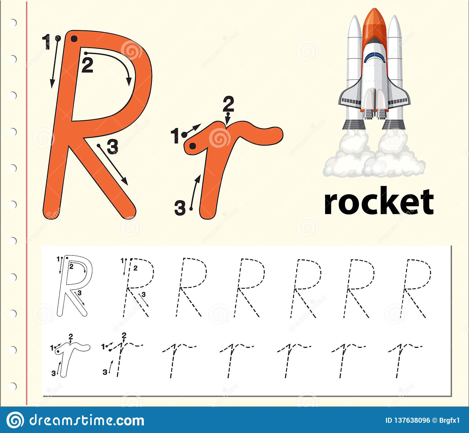 Letter R Tracing Alphabet Worksheets Editorial Photo