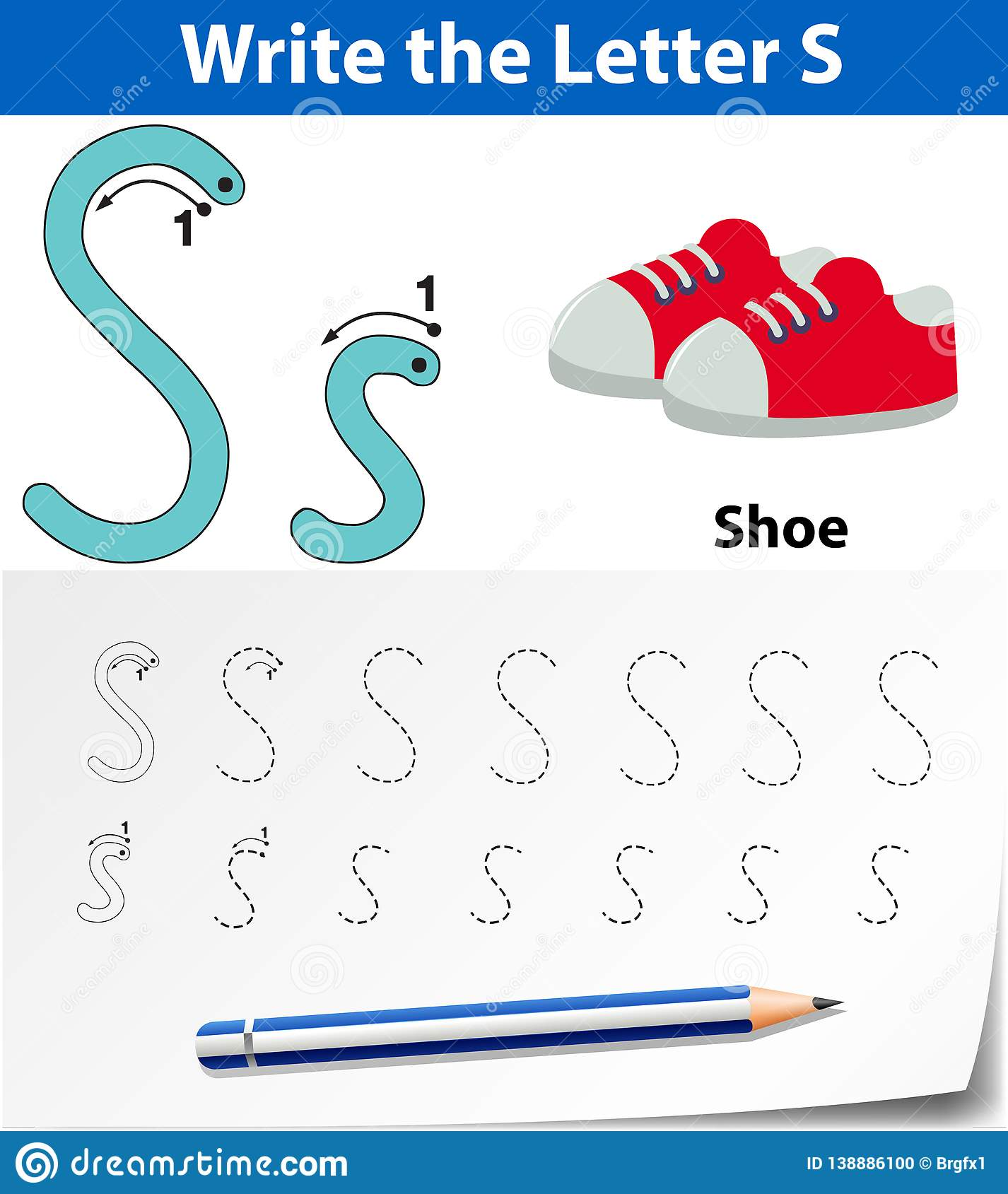 Letter S Tracing Alphabet Worksheets Stock Vector