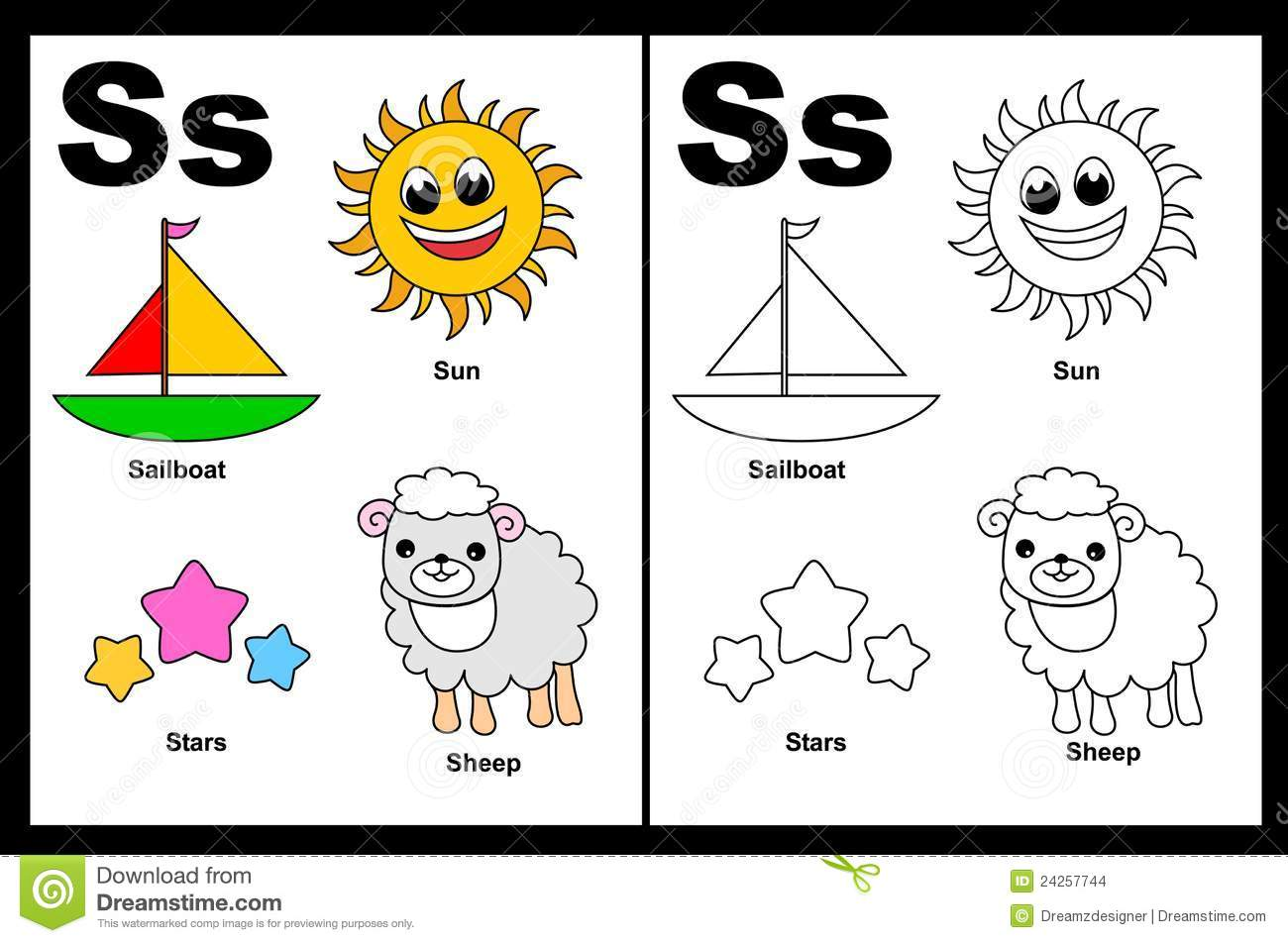 Letter S Worksheet Stock Vector Illustration Of Grade