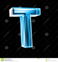 Letter T In Blue Glass 3D Stock Photography - Image: 5153502