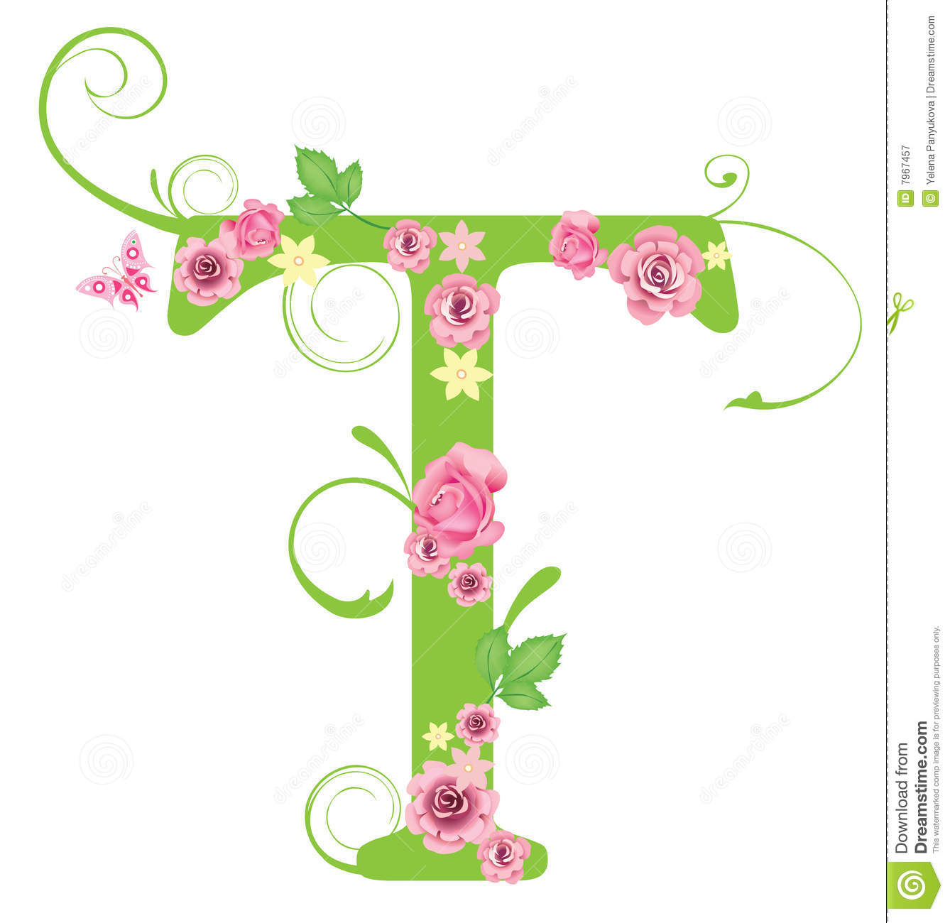 letter t with roses
