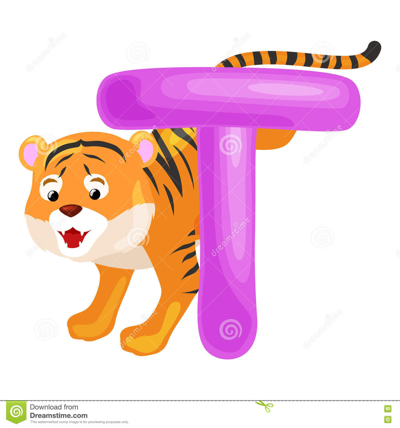 Letter T With Tiger Animal For Kids Abc Education In