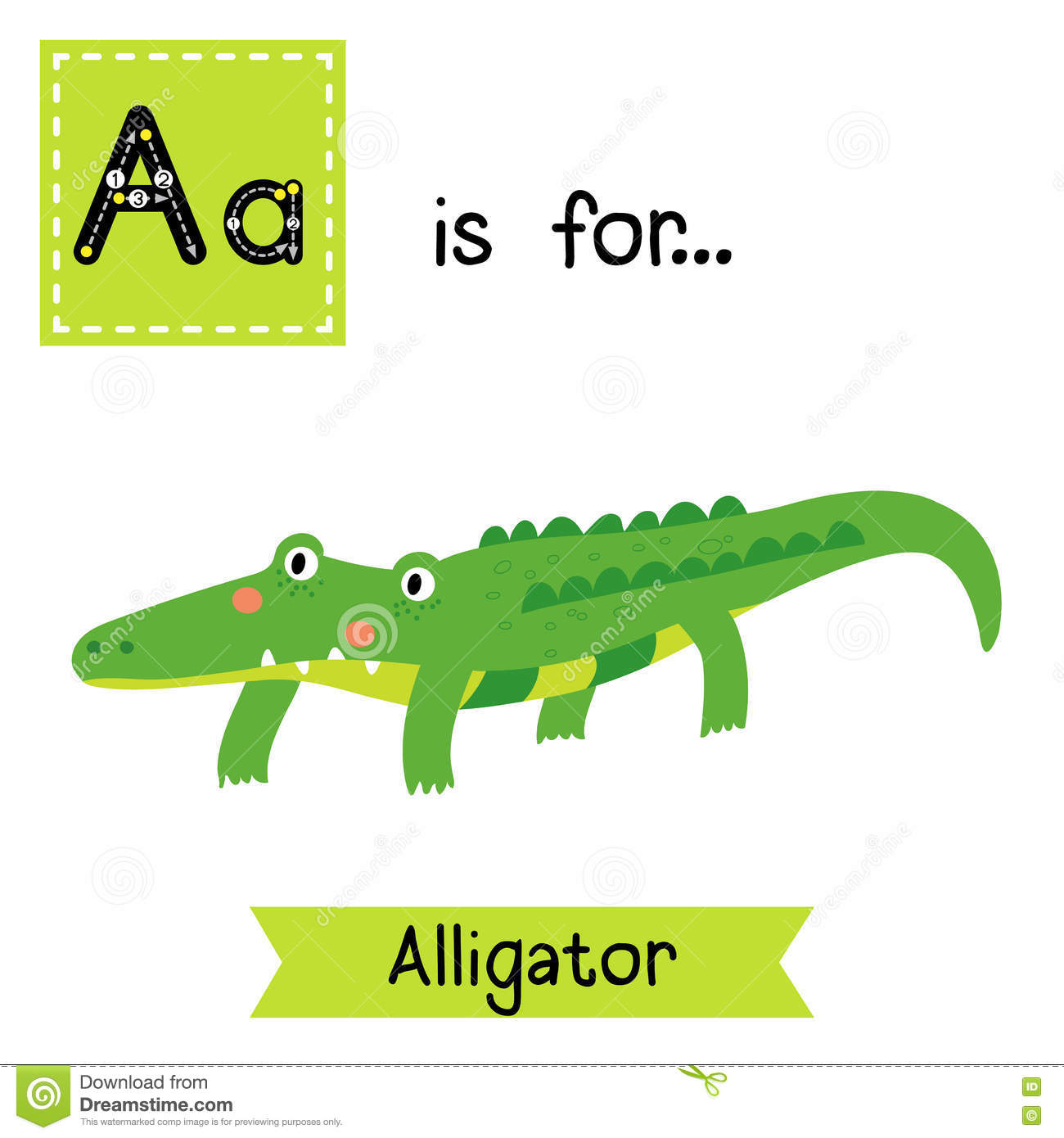 A Letter Tracing Alligator Stock Vector