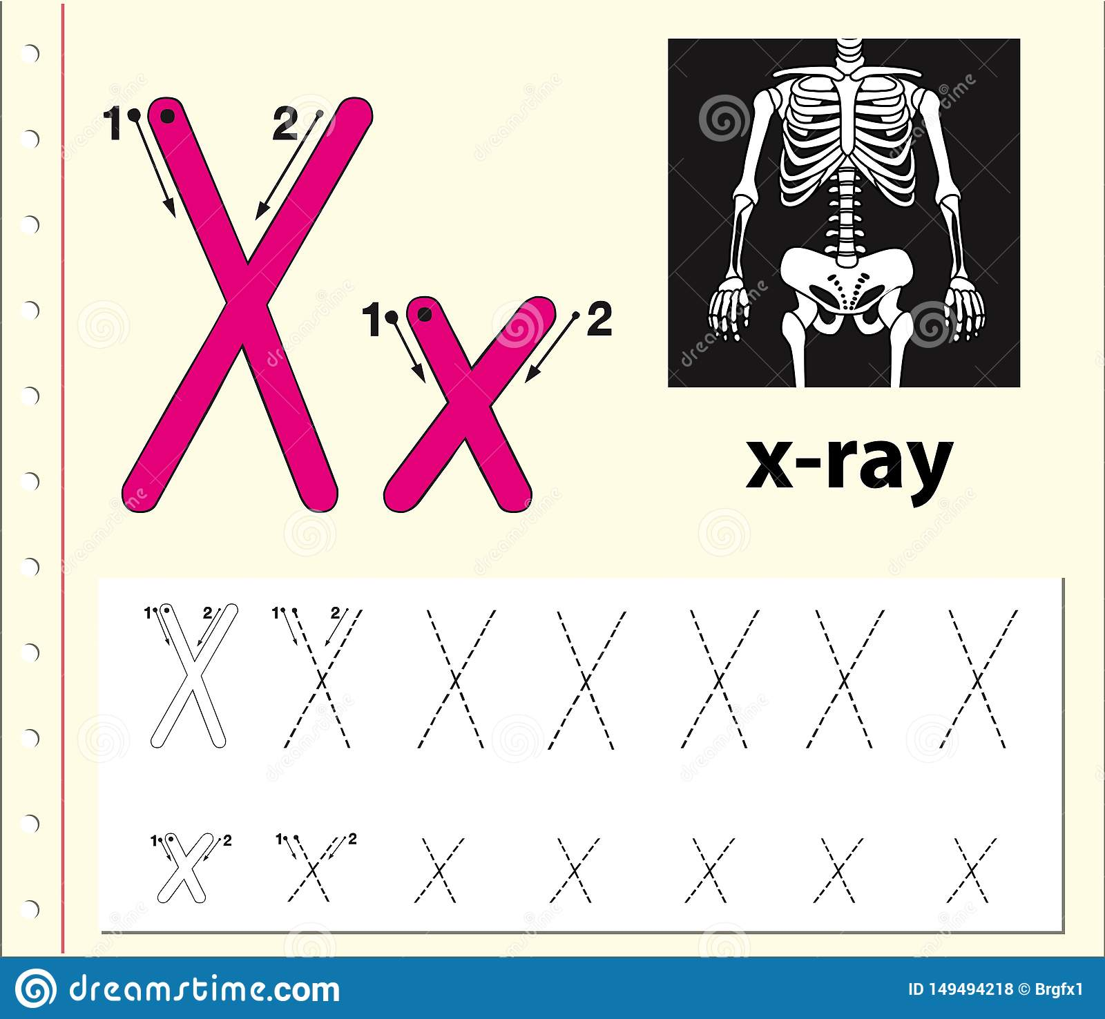 Letter X Tracing Alphabet Worksheets Stock Vector