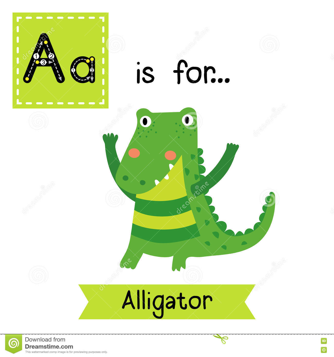 A Letter Tracing Standing Alligator Stock Vector