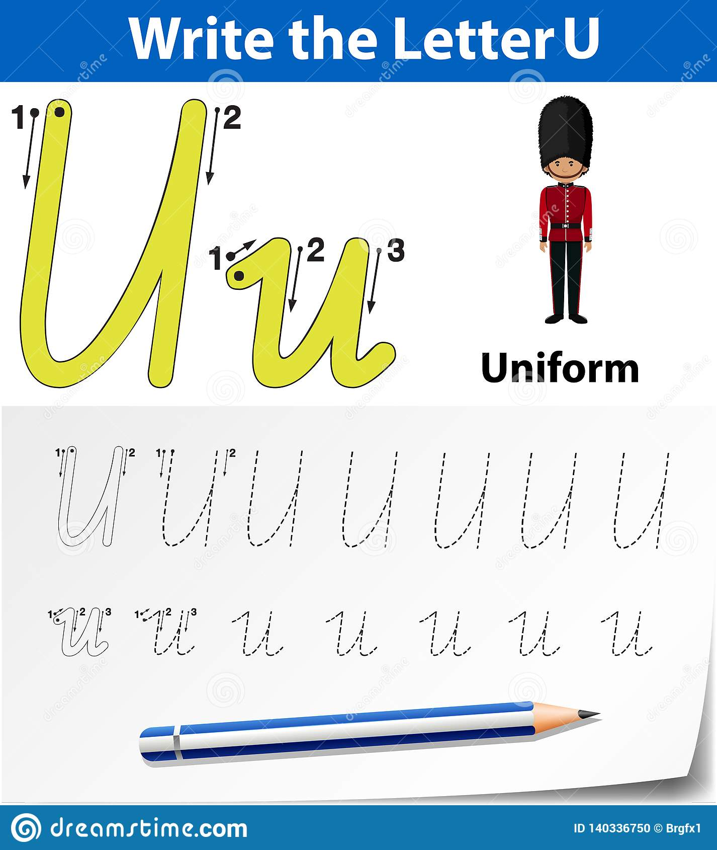 Letter U Tracing Alphabet Worksheets Stock Vector
