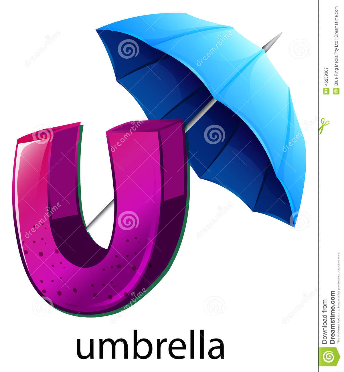 A Letter U For Umbrella Stock Vector