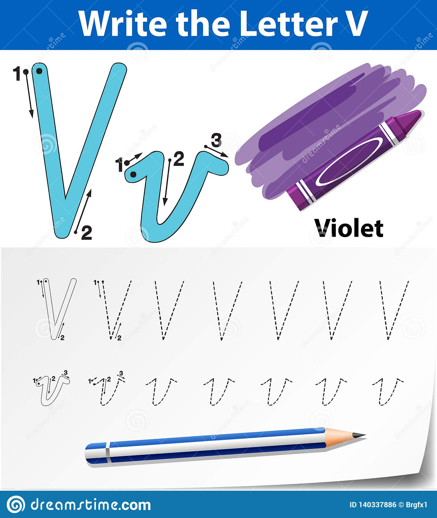 Letter V Tracing Alphabet Worksheets Stock Vector