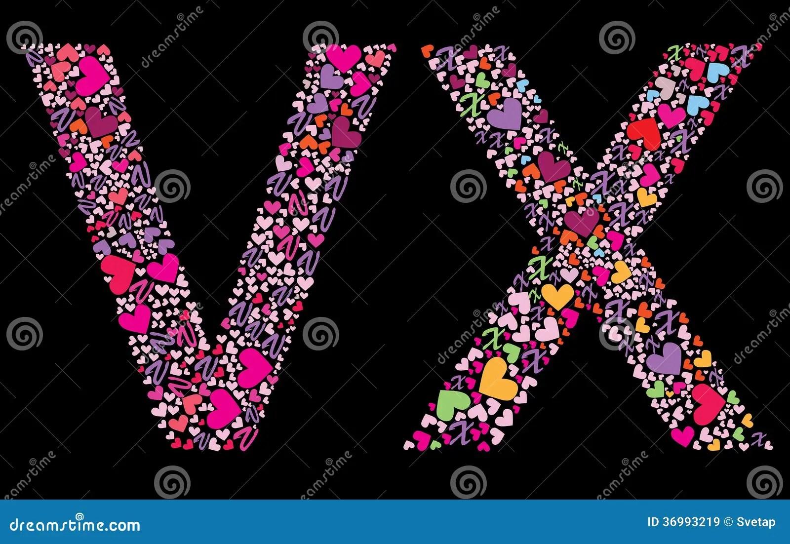 Letter V X Valentine Alphabet Stock Vector