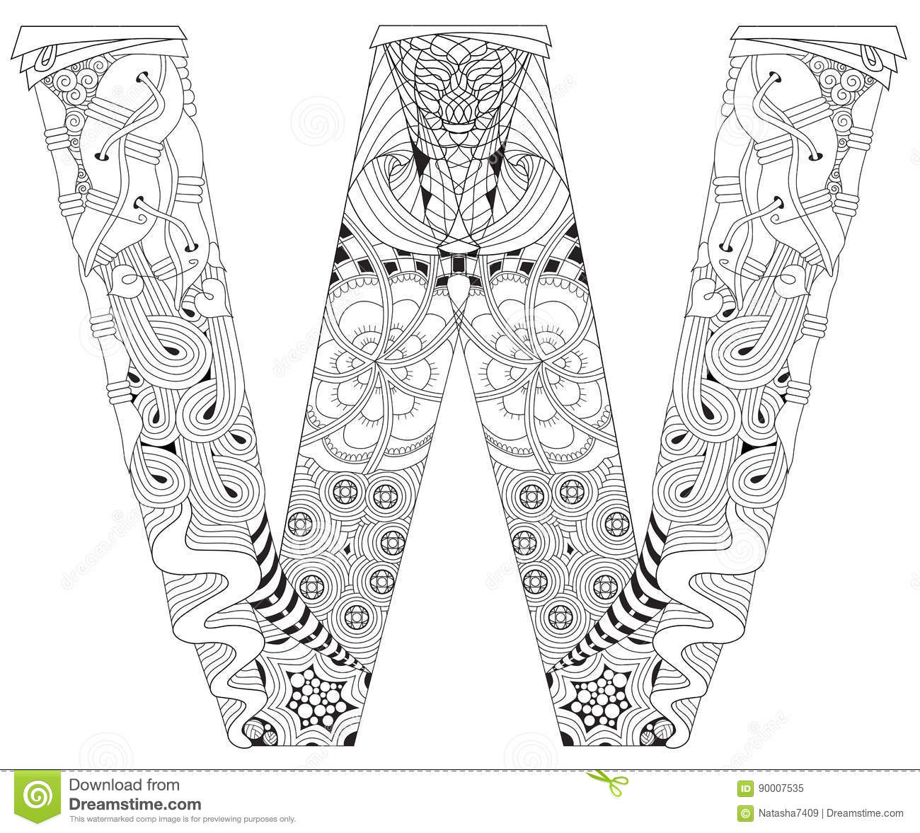 Letter W For Coloring Vector Decorative Zentangle Object