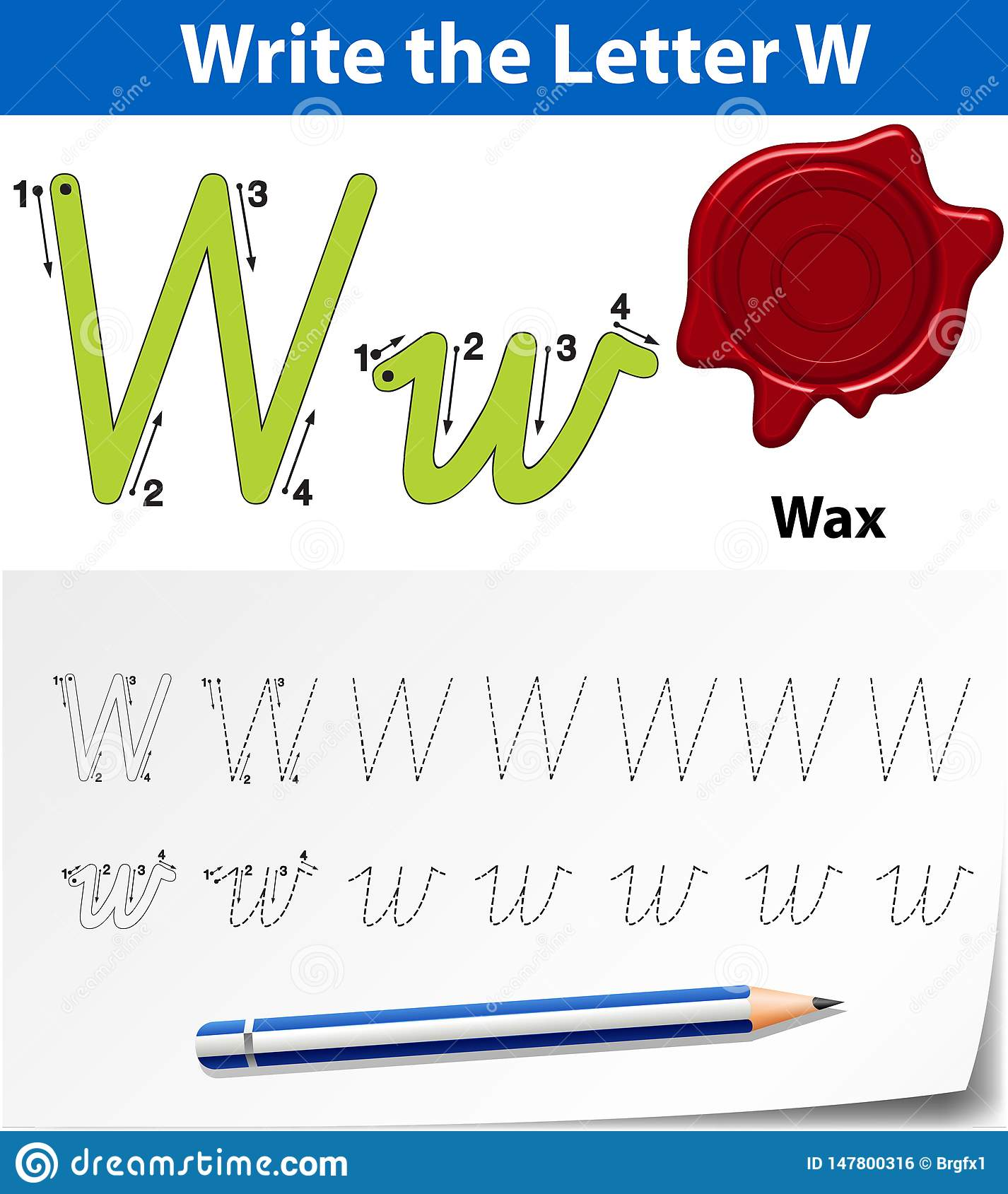 Letter W Tracing Alphabet Worksheets Stock Illustration