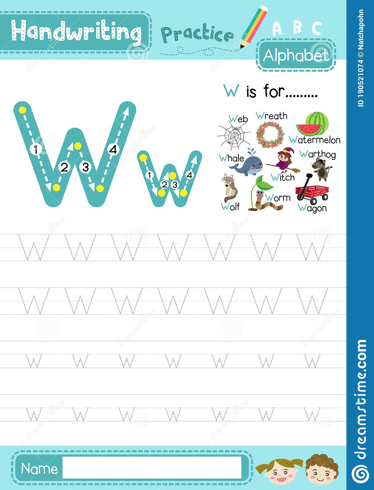 Letter W Uppercase And Lowercase Tracing Practice