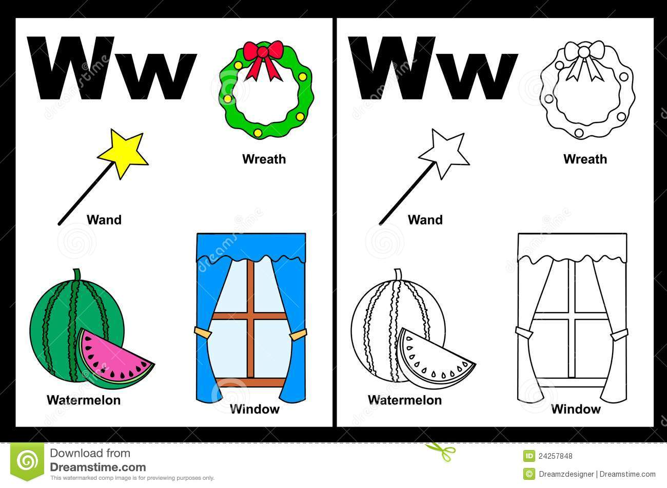 Letter W Worksheet Stock Vector Illustration Of