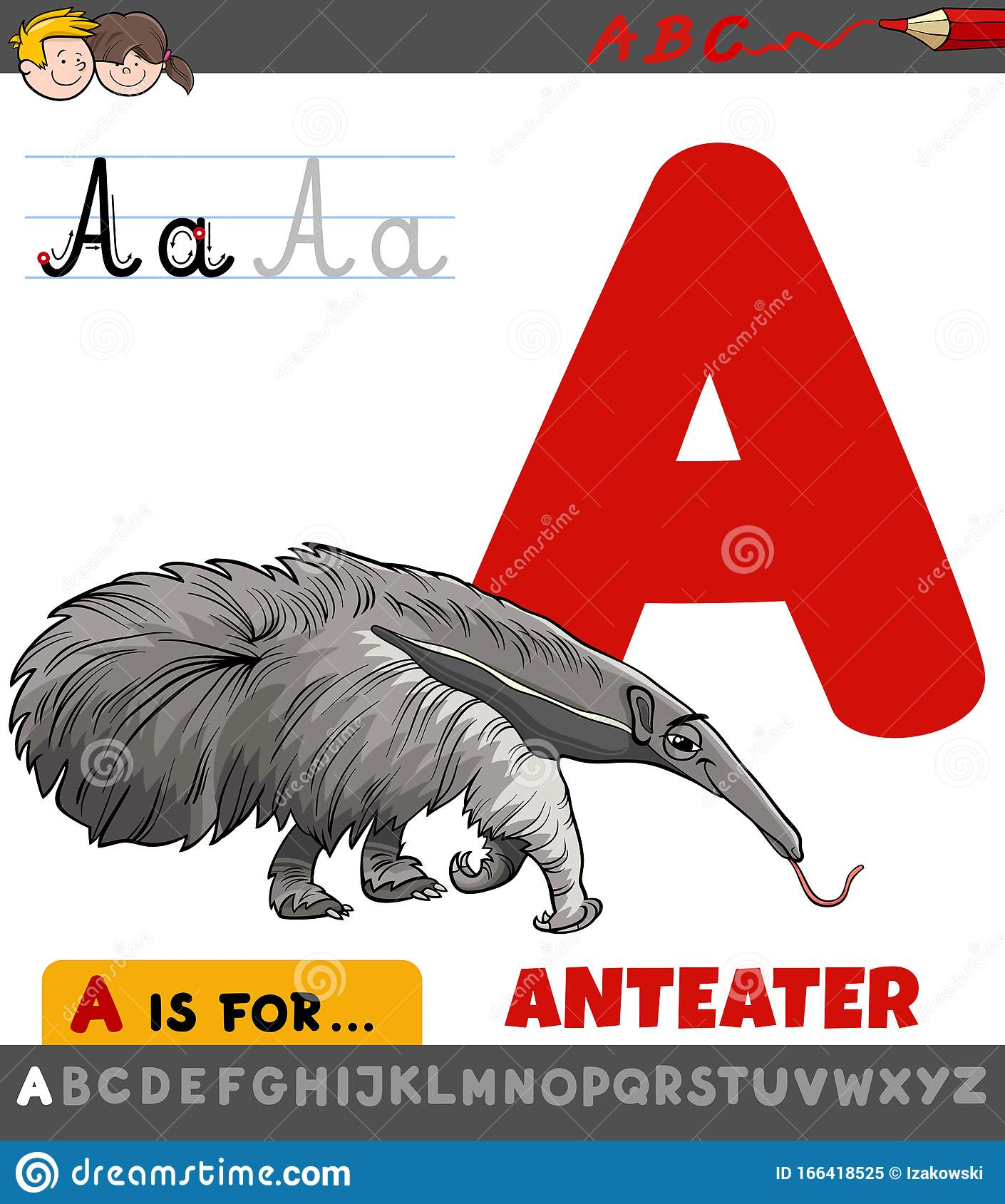 Letter A Worksheet With Cartoon Anteater Stock Vector
