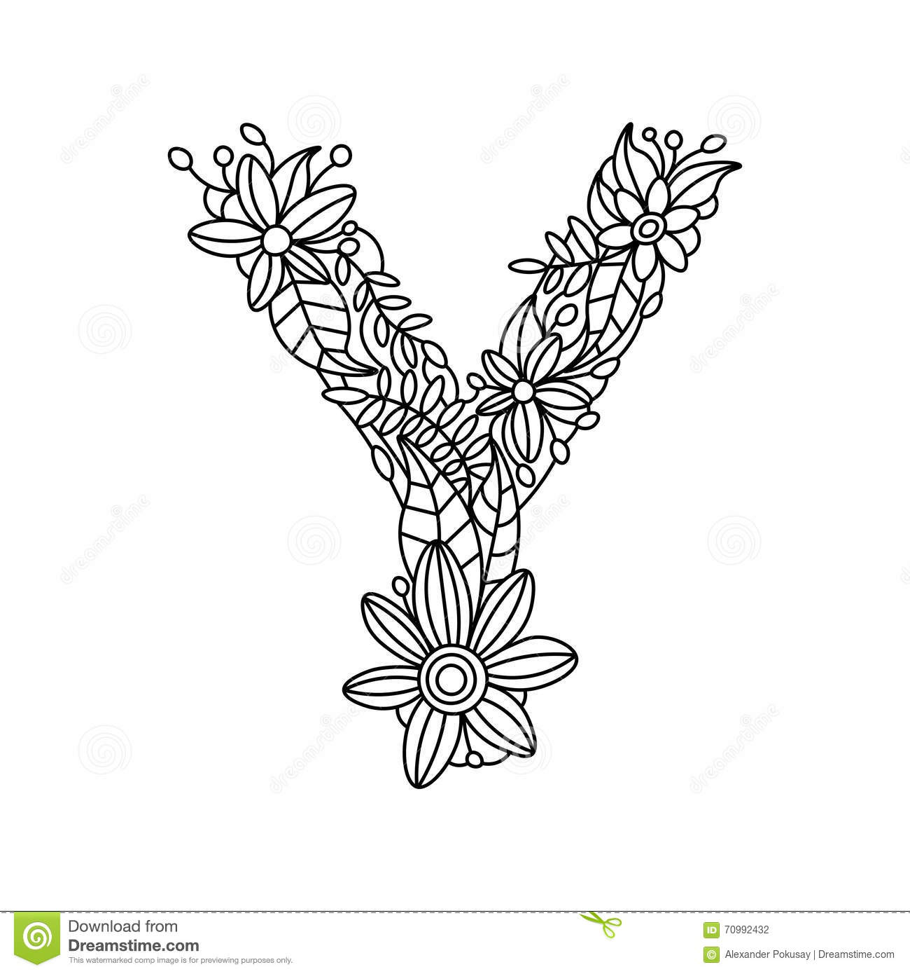 Letter Y Coloring Book For Adults Vector Stock Vector