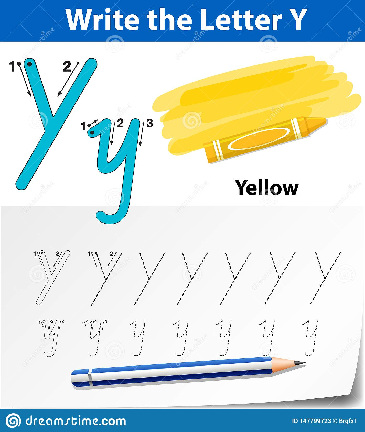 Letter Y Tracing Alphabet Worksheets Stock Vector