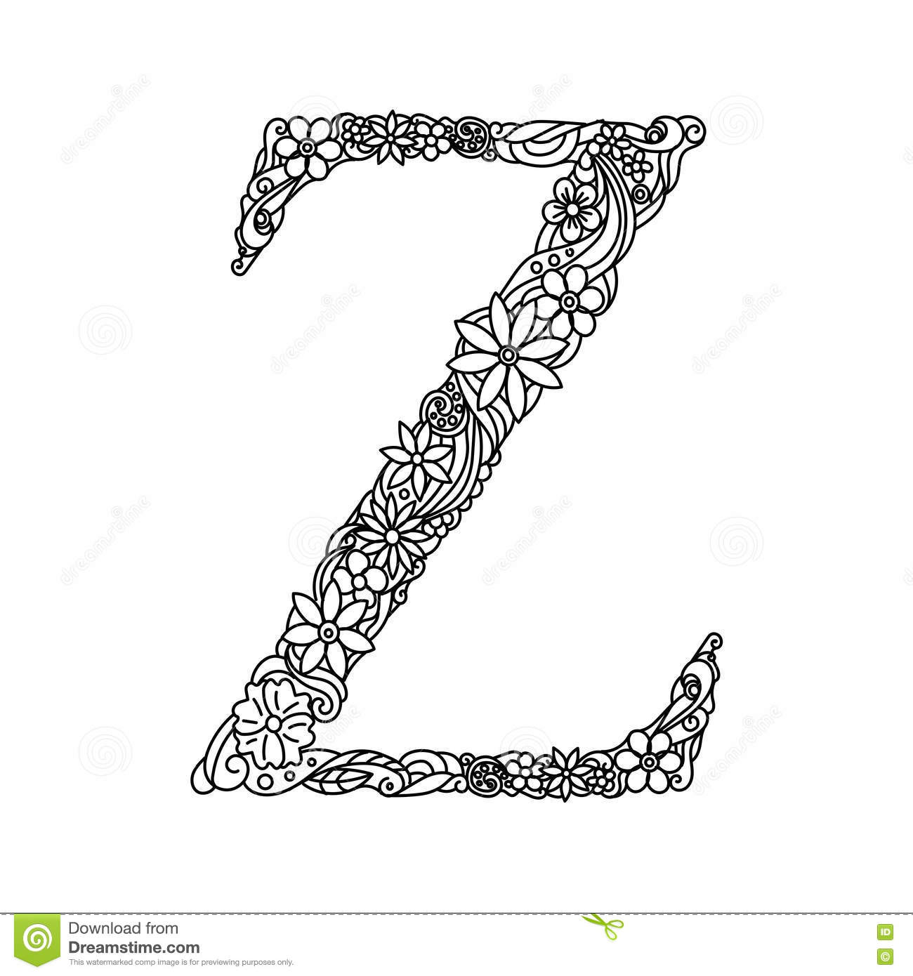 Letter Z Coloring Book For Adults Vector Stock Vector