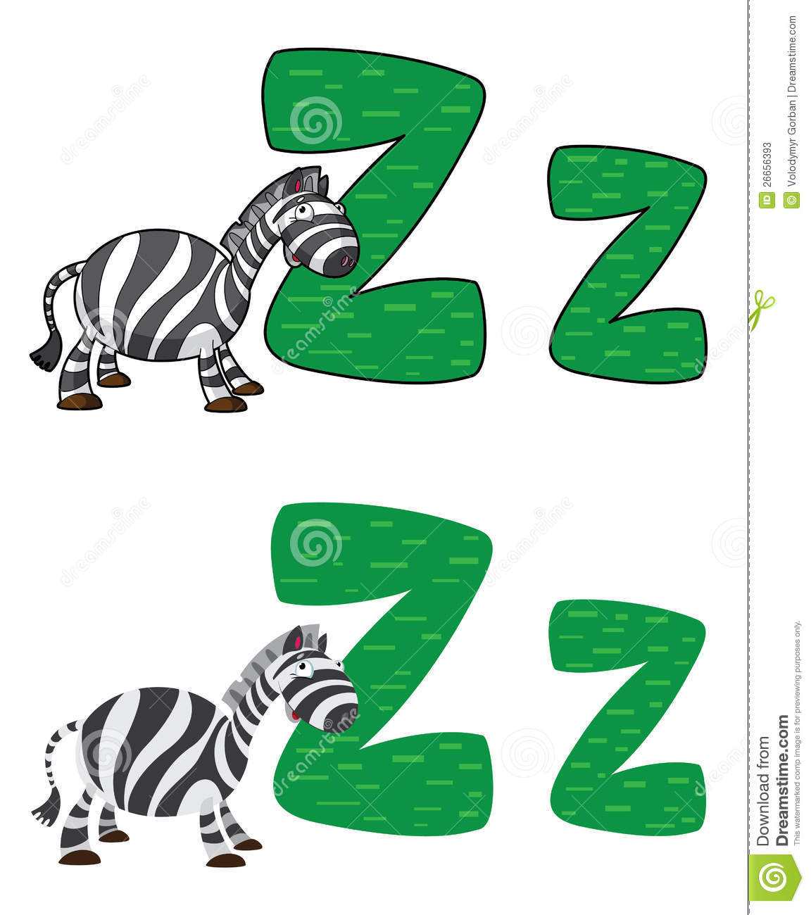 Letter Z Zebra Stock Vector Illustration Of Cartoon