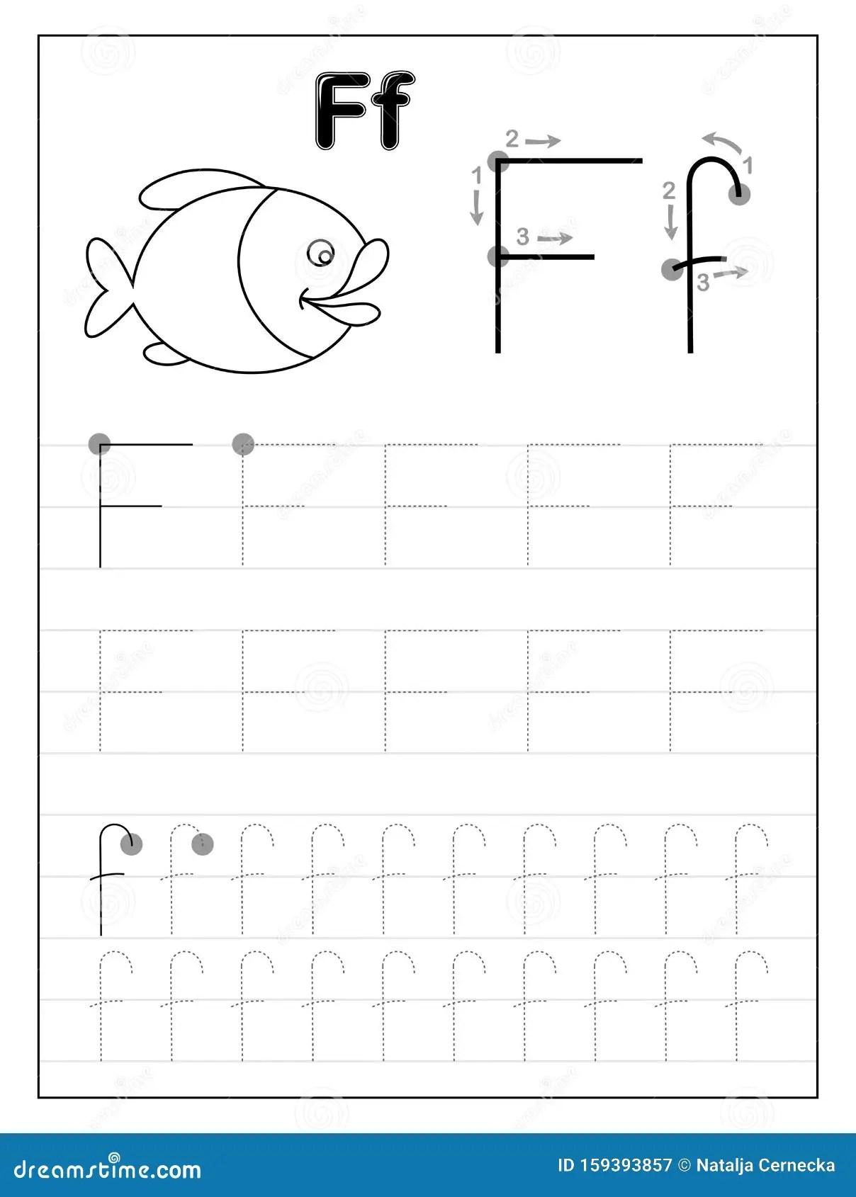 Lettera F Dell Alfabeto Di Traccia Pagine In Bianco E Nero