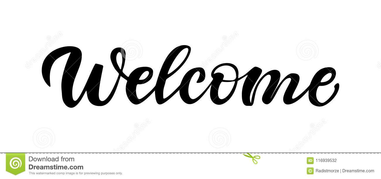 Lettering Welcome Isolated On White Background. Stock
